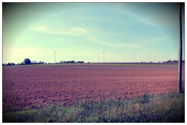 Perception depuis les hameaux de l'Aubinerie et les Touches (au nord). Distance au projet : 1400m