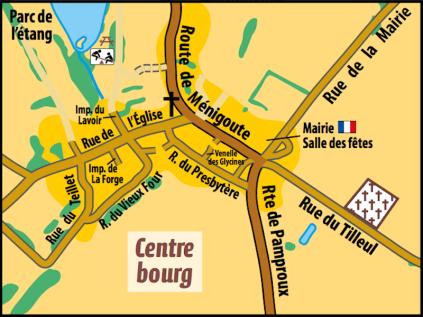 Le parc de l'étang est situé en plein coeur du bourg et dispose d'un parking accessible depuis la route de Ménigoute.