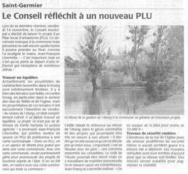 20141117-Courrier-Le Conseil réfléchit à un nouveau PLU