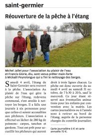 La Nouvelle République (25 mars 2015) - Réouverture de la pêche à l'étang de Saint Germier
