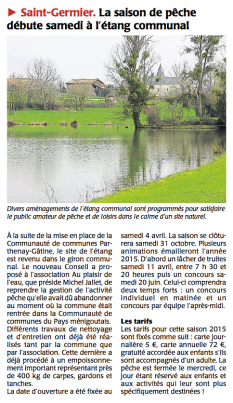 20150331-Courrier-La saison de pêche débute à l'étang communal