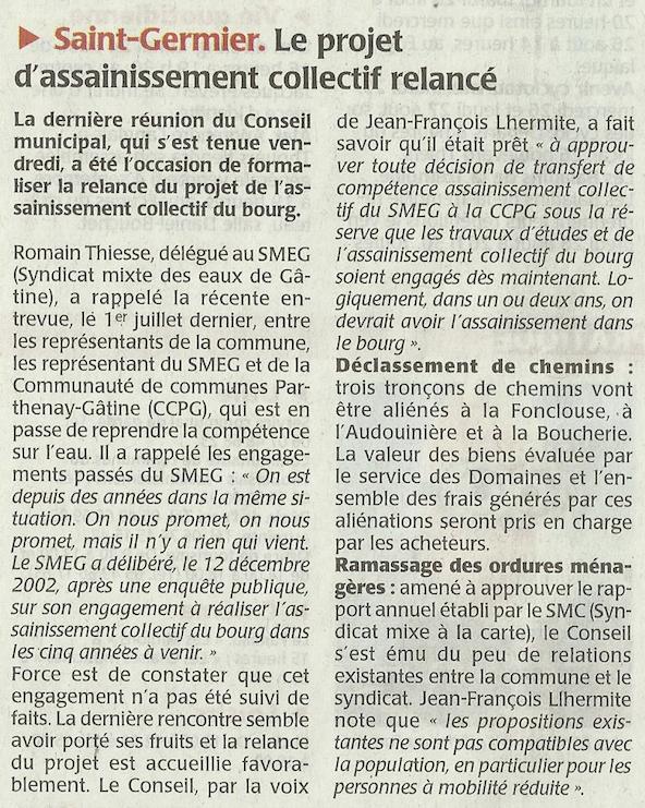 20150824-Courrier-Le projet d assainissement collectif relancé