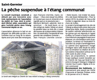 20151217-Courrier-La peche suspendue a l'etang communal