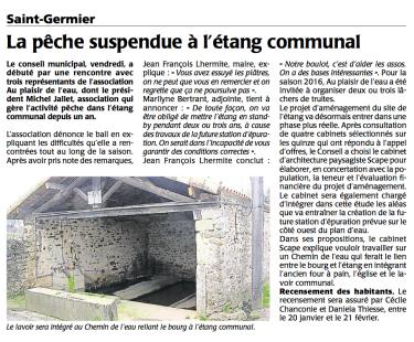 20151217-Courrier-La peche suspendue a l'etang communal