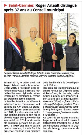 20160115-Courrier-Roger Artault distingué après 37 ans au CM
