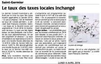 20160404-Courrier-Le taux des taxes locales inchangé