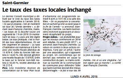 20160404-Courrier-Le taux des taxes locales inchangé