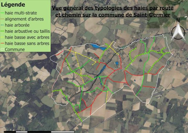 Saint Germier : typologie des haie par route et chemin.