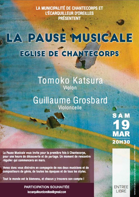 Pause Musicale à Chantecorps le samedi 19 mars 2016 à 20h30