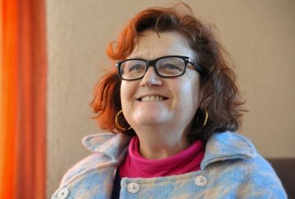 St Germier (79340)-2 mars 2016-Nathalie Lanzi, Vice Présidente de la région APCL encourage le chantier de la commune © Louise Baheux