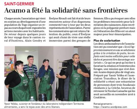 20181126-Courrier-Acamo a fêté la solidarité sans frontières