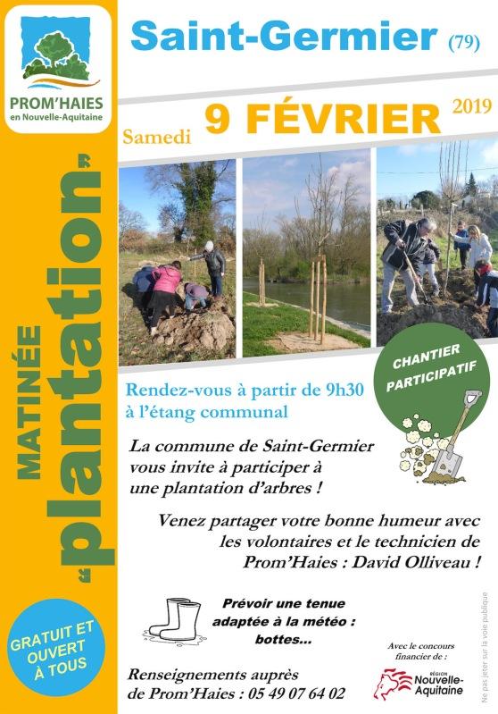 Samedi 9 février : on plante des arbres à l'étang de St-Germier (79)