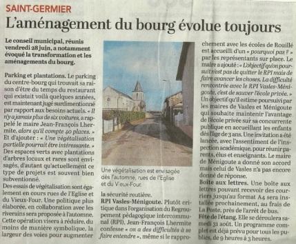 20190704-Courrier-L'aménagement du bourg évolue toujours