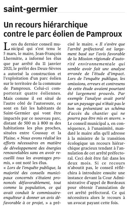 20210319-NR-Un recours hiérarchique contre le parc éolien de Pamproux